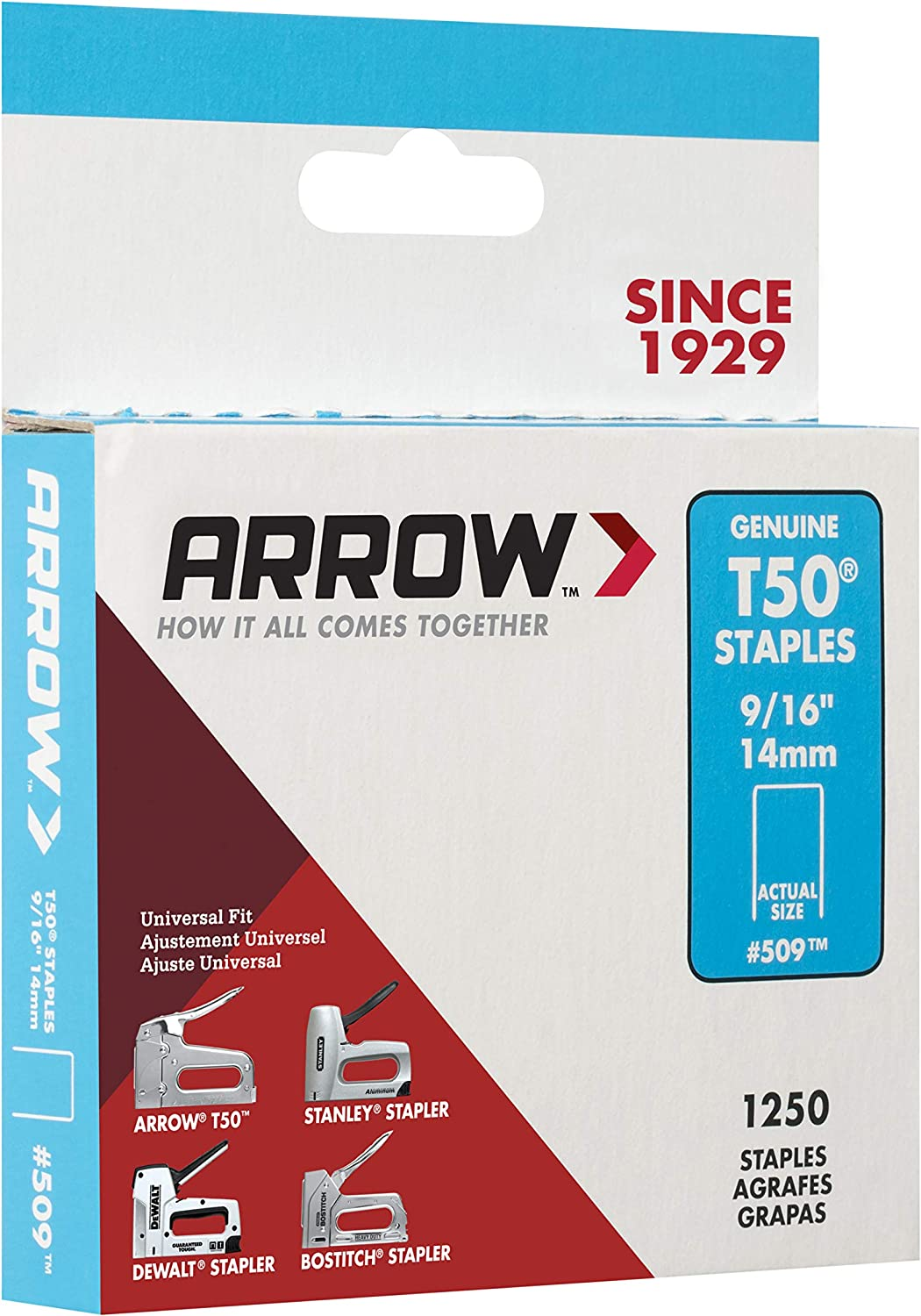 """Arrow #509 Type T50 Staples 1,250 Pack 9//16/"""" 14 MM 2 Available"""