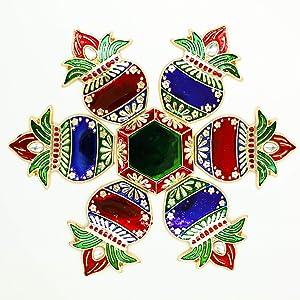 Diwali Metal Meenakari Rangoli Floor Decorations Multicolor Kalash Design Rangoli with Studded Stones and Sequins, Traditional Festive Home Décor