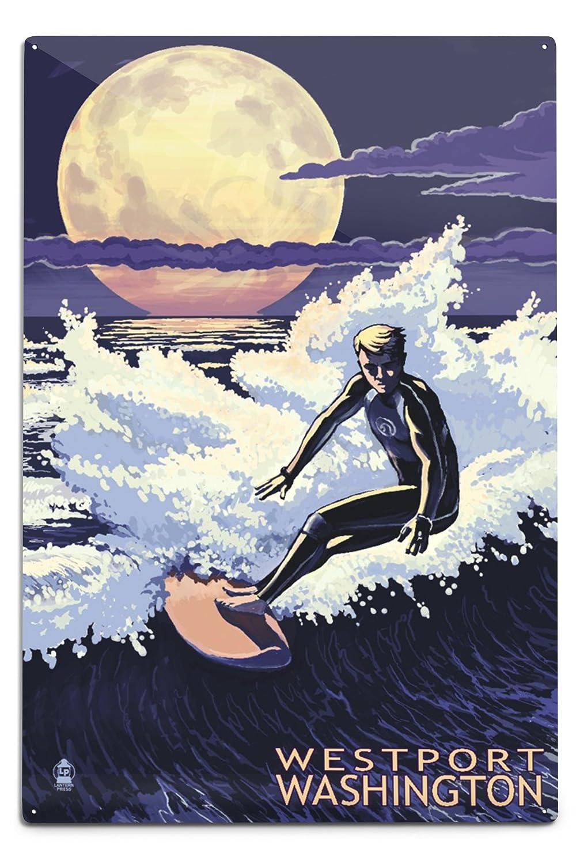 開店記念セール! Westport、ワシントン – Night Surfer Sign 12 x x 18 18 Metal Sign LANT-73392-12x18M B06Y1KFPZG 12 x 18 Metal Sign, グリーミングハウス:5717421d --- 4x4.lt