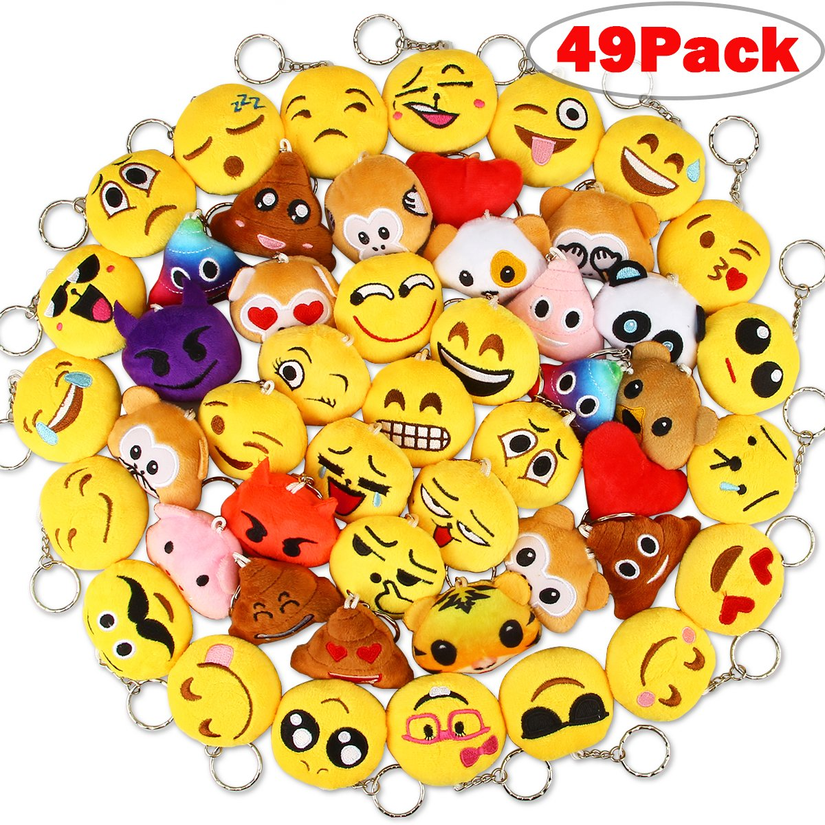 Christmas Emoji.Dreampark Christmas Emoji Keychain Plush Mini Emoji Party Supplies 49 Pack Emoji Plush Keychains For Kids Party Favors Easter Eggs Fillers