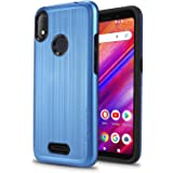 """New Frontier Ultra Hybrid Designed for BLU VIVO X5-5.7"""" 2019 Case, Tough Hybrid,Armor,Shockproof,Dual Layer,Drop Protection (Blue)"""
