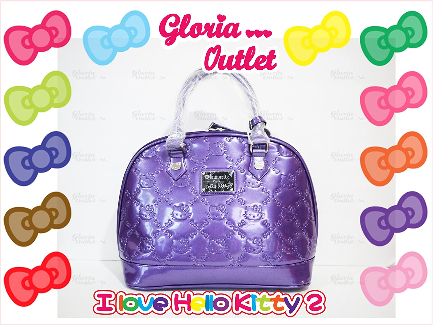 Amazon.com  Hello Kitty Embossed Patent ACAI Shinny Purple Handbag Tote Bag  Loungefly Sanrio SANTB1081  Beauty 1b647ded484dc