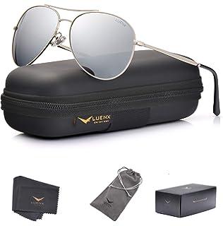 f187d04c3a5e LUENX Aviator Sunglasses Mens Womens Polarized Brown Plastic Lens ...