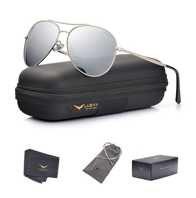 7821e37204 LUENX anteojos de Sol de Aviador para Hombre y Mujer, Espejo polarizado,  protección UV