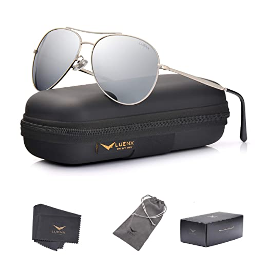 c5bbc05bf LUENX Aviator Sunglasses Men Women Mirror Polarized UV400 Metal Frame 60MM  (Silver -5,
