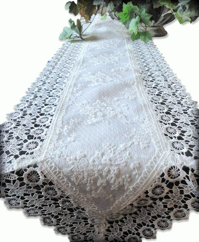 Galleria di Giovanni Dresser Scarf or Mantel Shelf Runner Ivory Princess Lace European