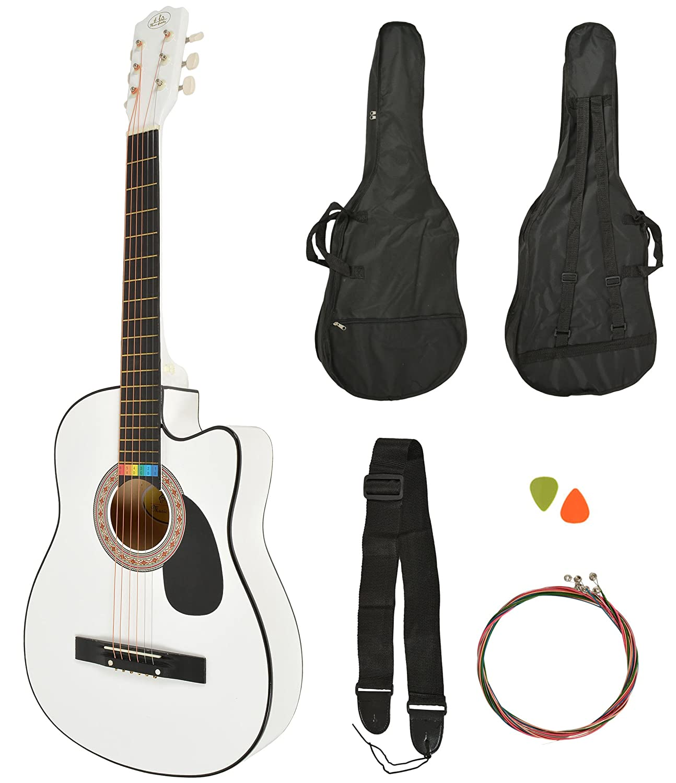 Akustik Western Gitarre Westerngitarre in Weiß + Gitarrentasche + Gurt + Saiten ts-ideen 5364