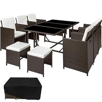Amazon.de: TecTake Set Gartenmöbel in Rattan Esstisch Set 6 + 4 + 1 ...