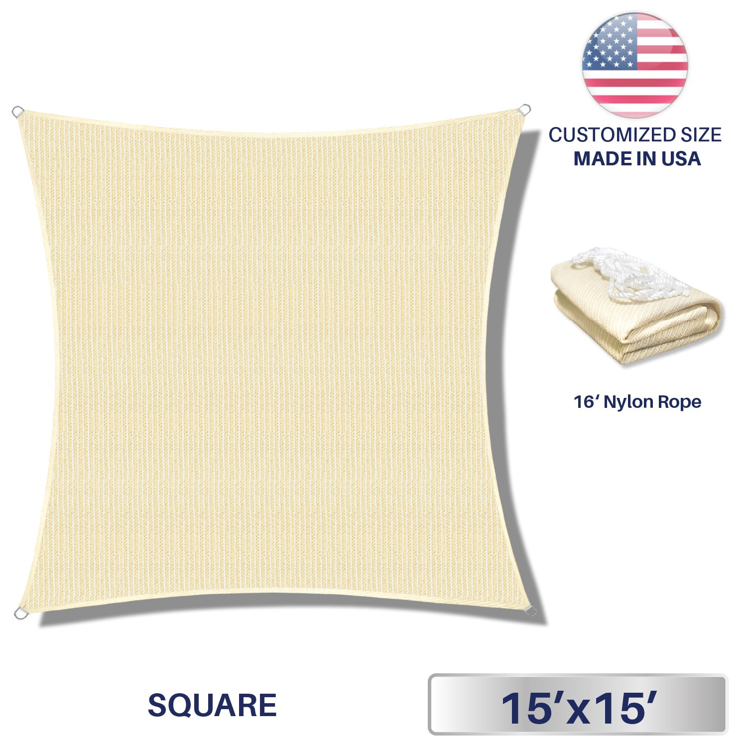 15' x 15' Sun Shade Sail UV Block Fabric Canopy in Beige Sand Square for Patio Garden Customized Size 3 Year Limited Warranty