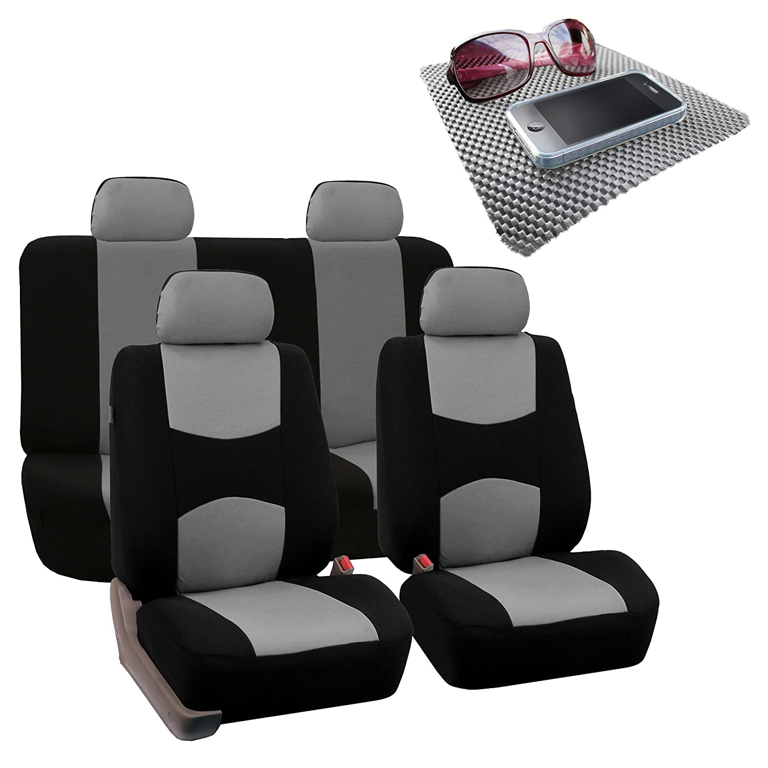 Burgundy//Black- Fit Most Car or Van FH Group Bright Flat Cloth Full Set Car Seat Covers Suv Truck