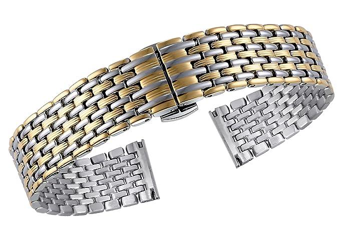 f994b9b305ae plata elegante de dos tonos de 16 mm de las mujeres   correas de reloj de  metal de oro patrón de pliegues único especial de acero inoxidable 316L  ...