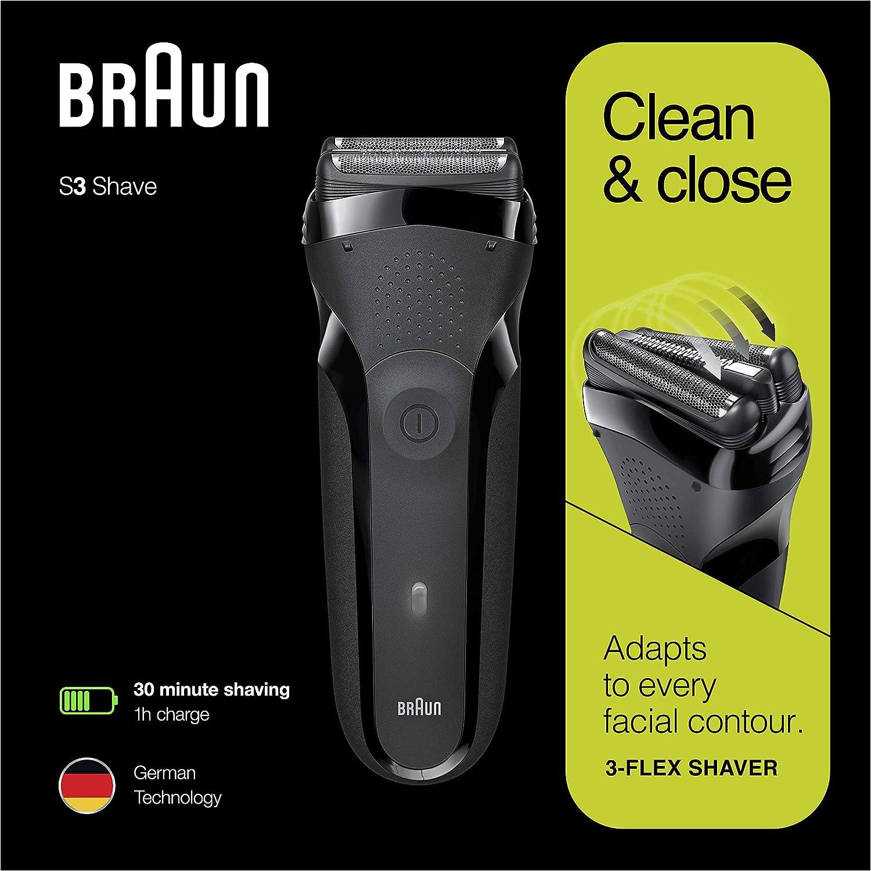 Braun Series 3 Shave&Style 300BT, Afeitadora eléctrica 3 en 1, maquinilla para hombre con recortadora de precisión para la barba, 5 peines, color negro