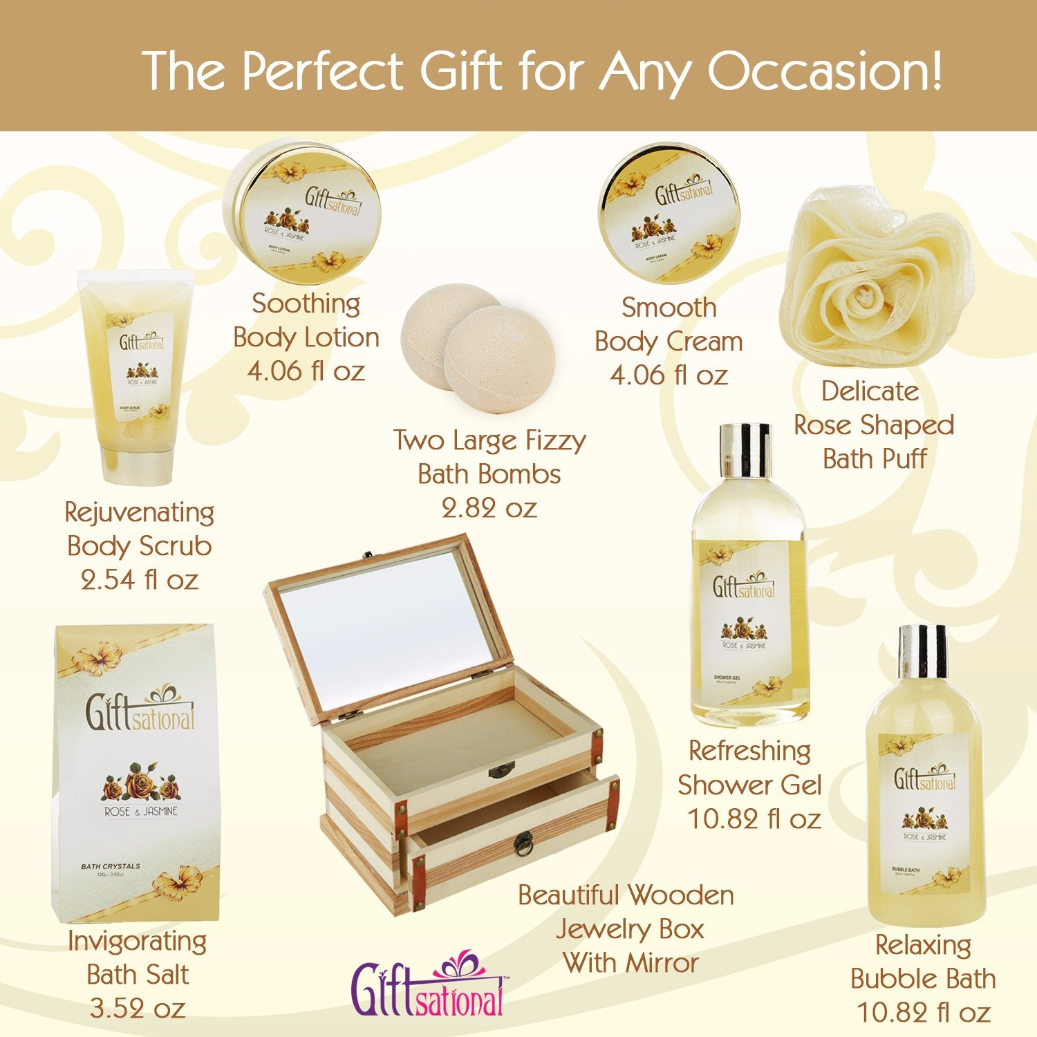 Spa Gift Basket Refreshing Rose & Jasmine Fragrance, Beautiful Wooden Gift Box with Mirror, Perfect Wedding, Birthday or Anniversary Gift, Bath gift Set Includes Shower Gel, Bath Bombs and More! by Giftsational (Image #2)