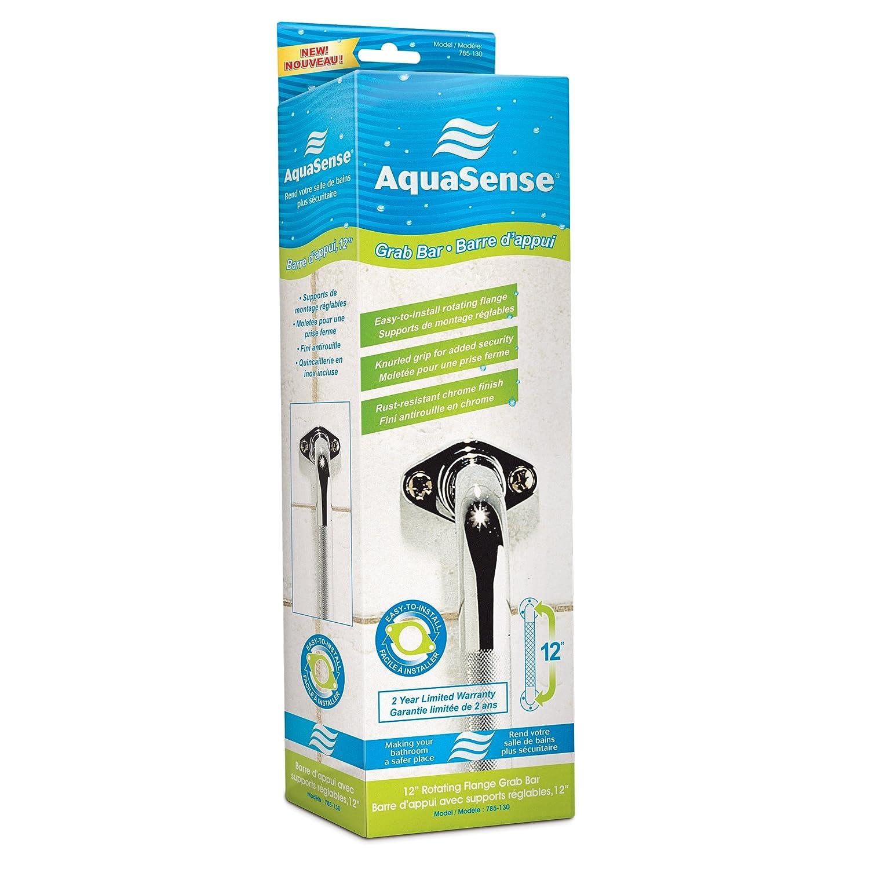 Amazon.com: AquaSense Knurled Chrome Grab Bar with Rotating Flange ...