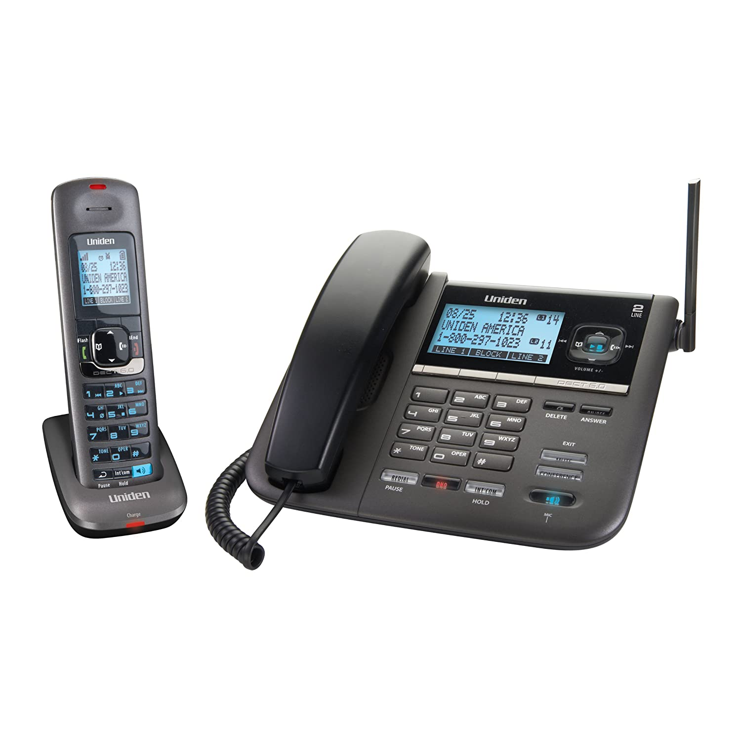 Amazon.com : Uniden DECT4096 DECT 6.0 Two-Line Cordless Phone with Digital  Answering System and Caller ID (Black) : Cordless Telephones : Electronics