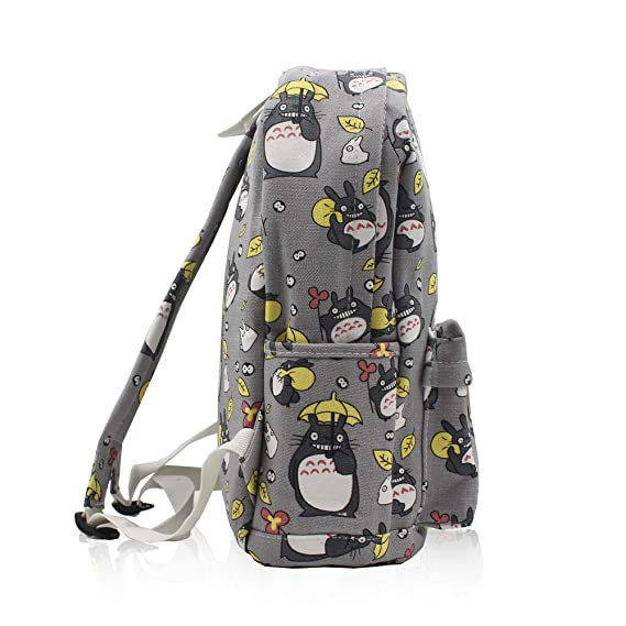 Amazon.com  Finex My Neighbor Totoro Gray Canvas Japanese Comic Cartoon  Casual Backpack with 15 inch Laptop Storage Compartment for Children Kids  Student ... 3bbede8ab8