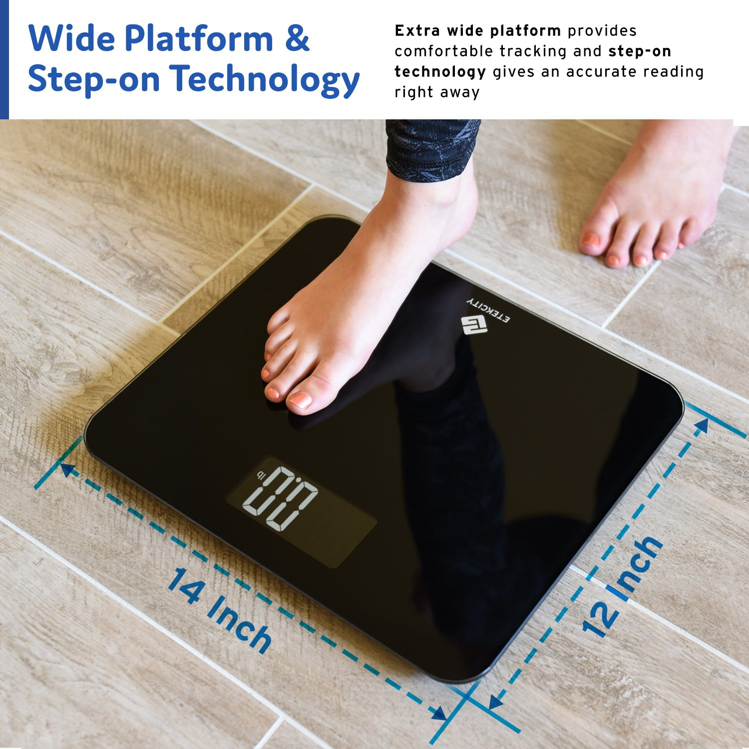 Etekcity Digital Body Weight Bathroom Scale with Step-On Technology, 440 Pounds, Body Tape Measure Included (Black) EB441OB by Etekcity (Image #4)
