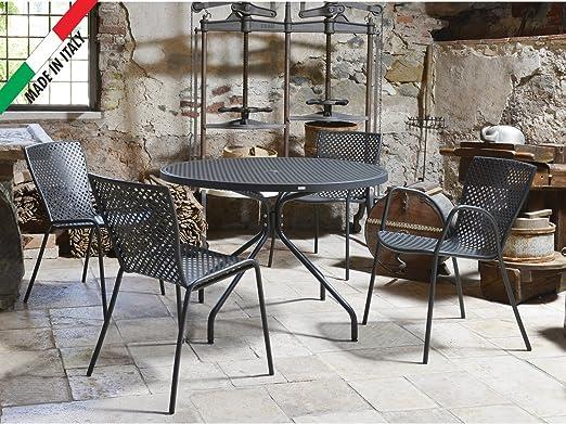 RD ITALIA Juego Mesa Summer Redondo D.110 con 4 sillas Metal Color Bronce De Exterior Jardín Terraza Balcón diseño Limpio Moderno: Amazon.es: Jardín