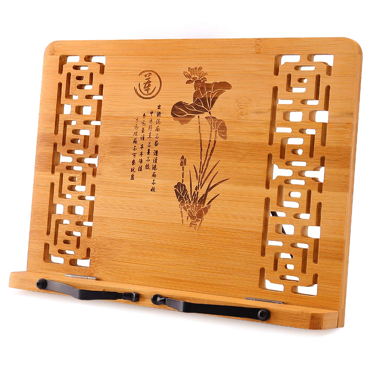 Megrez Bamboo Foldable Book Stand (13 x 9.4 inch) Reading Frame Rest Holder Cookbook Cook Stand/iPad Tablet PC Textbook/Music Document Stand/Desk Bookrest with Retro Hollow, Lotus Flower Pattern by Megrez