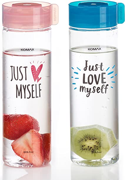 Komax Juice Bottles 18.5oz Set of 4 Unbreakable Tritan Plastic BPA Free ...