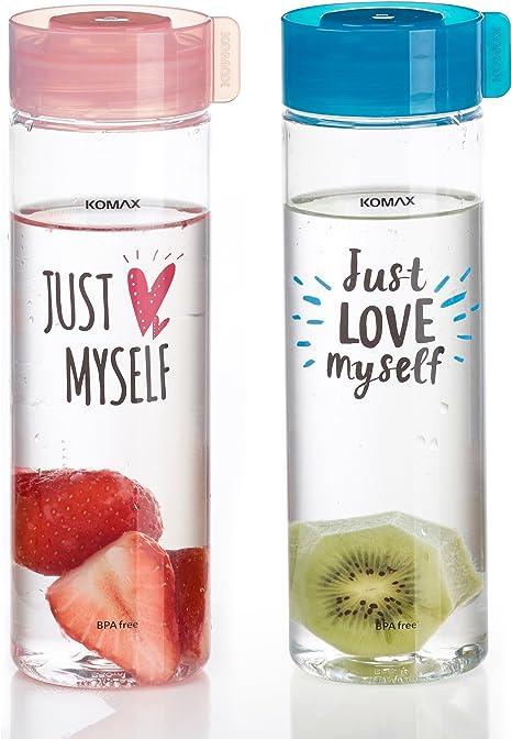 Komax - Botellas de agua y zumo (2 unidades, peso ligero y ...