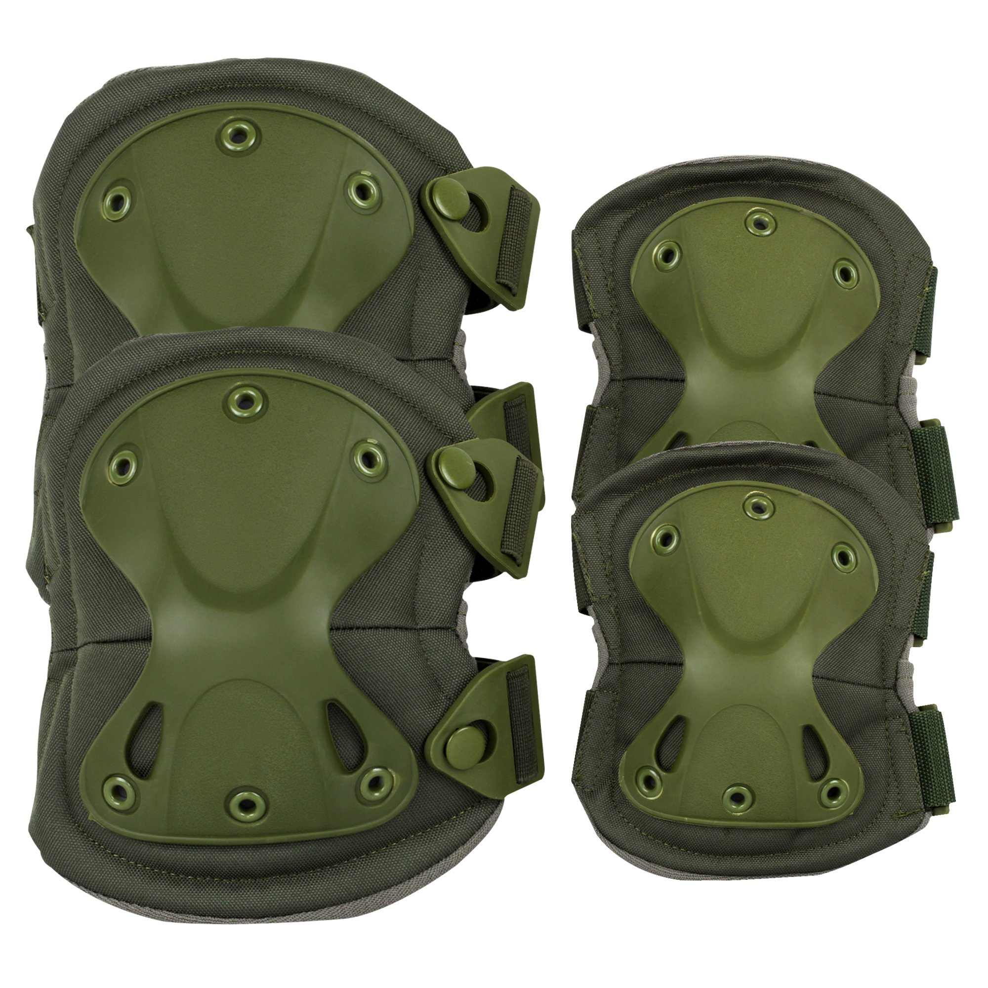 Knee & Elbow Pads , ADiPROD (4 pcs) Adjustable Tactical Airsoft Combat Sports-Protective Skate Knee Pads (Green) by ADiPROD