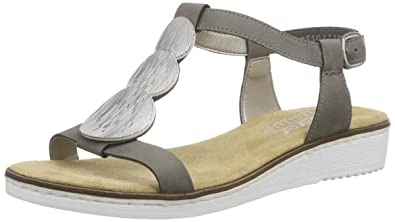 online here get cheap exclusive shoes Rieker Damen 63684 Offene Sandalen mit Keilabsatz