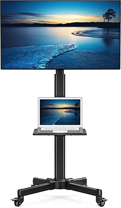 """FITUEYES Mobile TV Stand with Wooden Laptop Shelf Rolling TV Cart for 27""""-55"""" LCD LED Plasma Flat Screens Holds Up to 66lbs Height Adjustable Mount on Wheels, TC205501MB"""