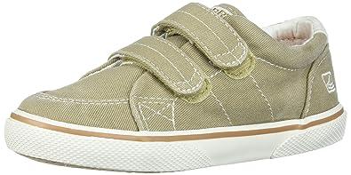 Sperry Halyard Hook & Loop Boat Shoe (Toddler/Little Kid),Khaki,