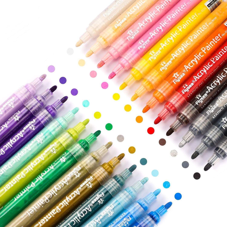 Flysea Rotuladores de Pintura Acrílica Marcadores, Rotuladores para Plastico Piedras Cerámica, 24 Colores