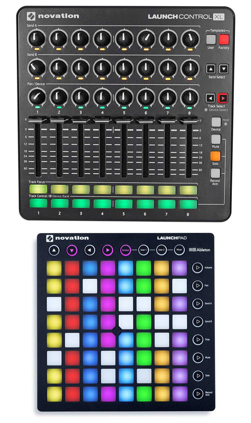 Novation Launch Control XL MIDI USB Audio Controller + Novation Launchpad S by Novation