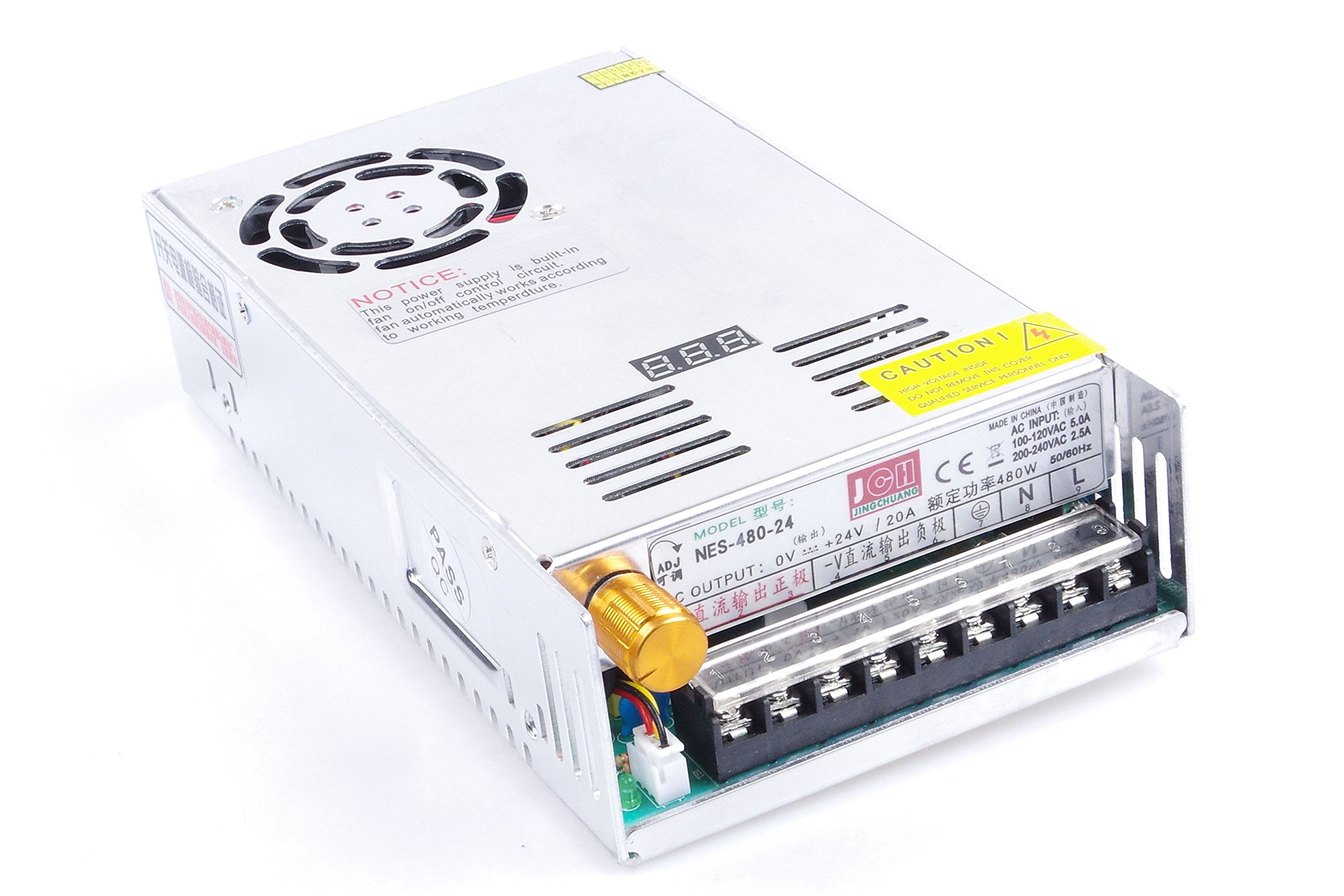 Adjustable DC Power Voltage Converter AC 110V-220V to DC 0-24V Module 24V 20A Switching Power Supply Digital Display 480W Voltage Regulator Transformer Built in Cooling Fan (DC 0-24V 20A)