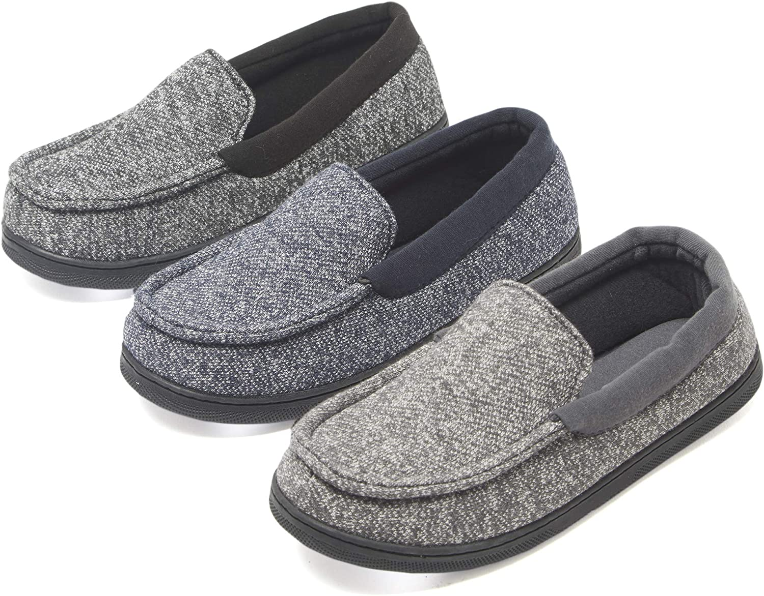 Hanes Boys Slipper Moccasin House Shoe with Indoor Outdoor Memory Foam Sole Fresh IQ Odor Protection