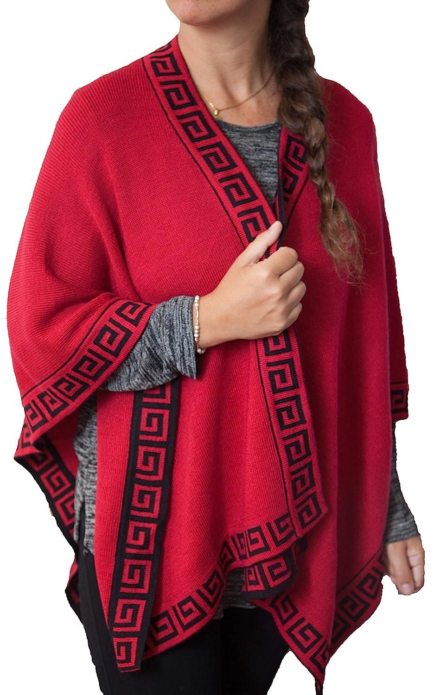 Cherry TINKUY PERU  Peruvian Alpaca Wool  Women´s Reversible Inca Black Geometric Design  Pashmina Cape Poncho Ruana
