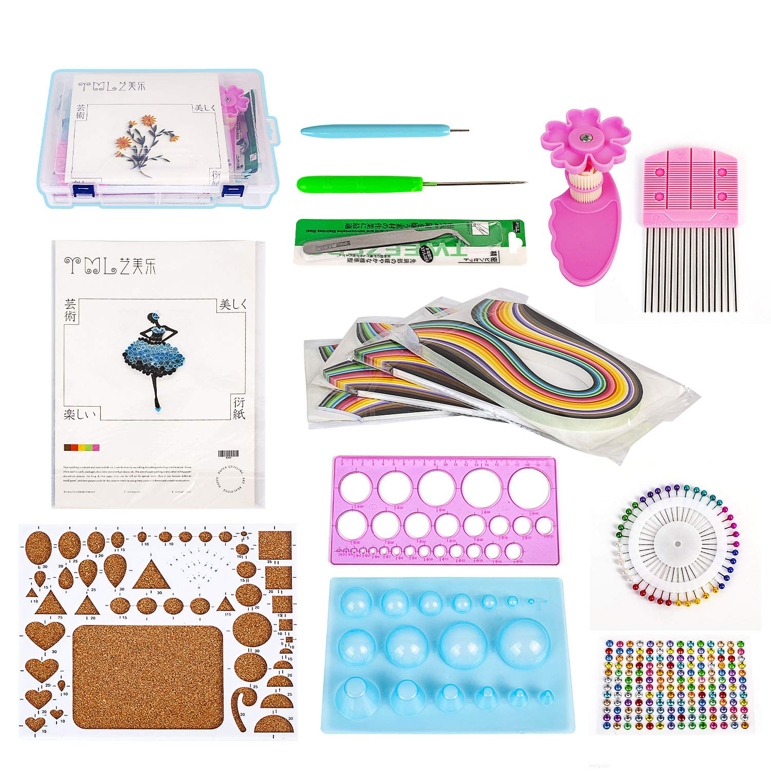 Paper Quilling Kit with 26 Colors 260 Strips and Storage Box