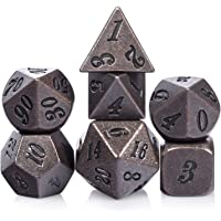 Ancient Copper D&D Metal Dice, 7PCS D&D Metal Dice with Metal Box for Dungeons and Dragons, Shadowrun, Pathfinder, Savage World and Table Games