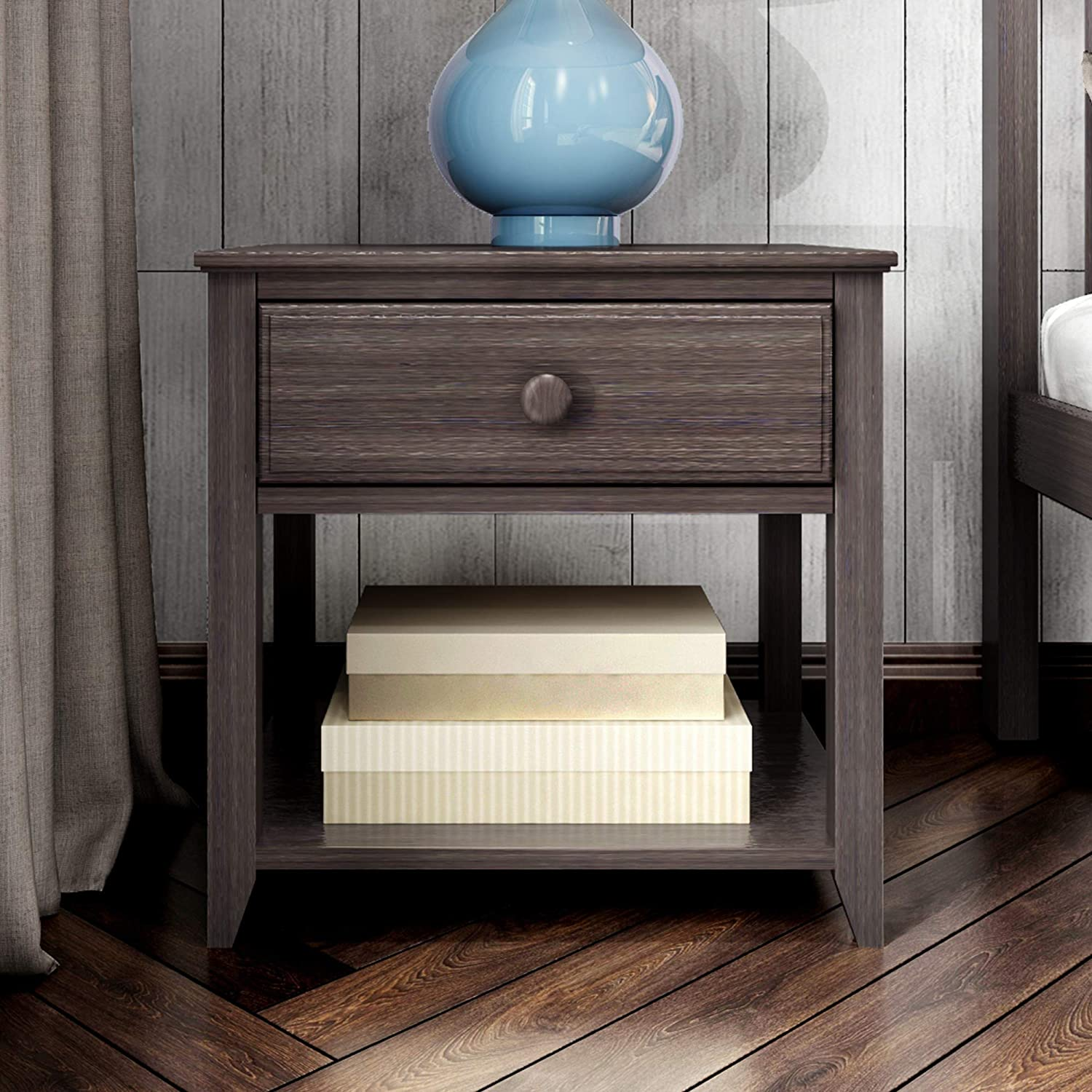 Max & Lily Nightstand with Drawer and Shelf, Clay