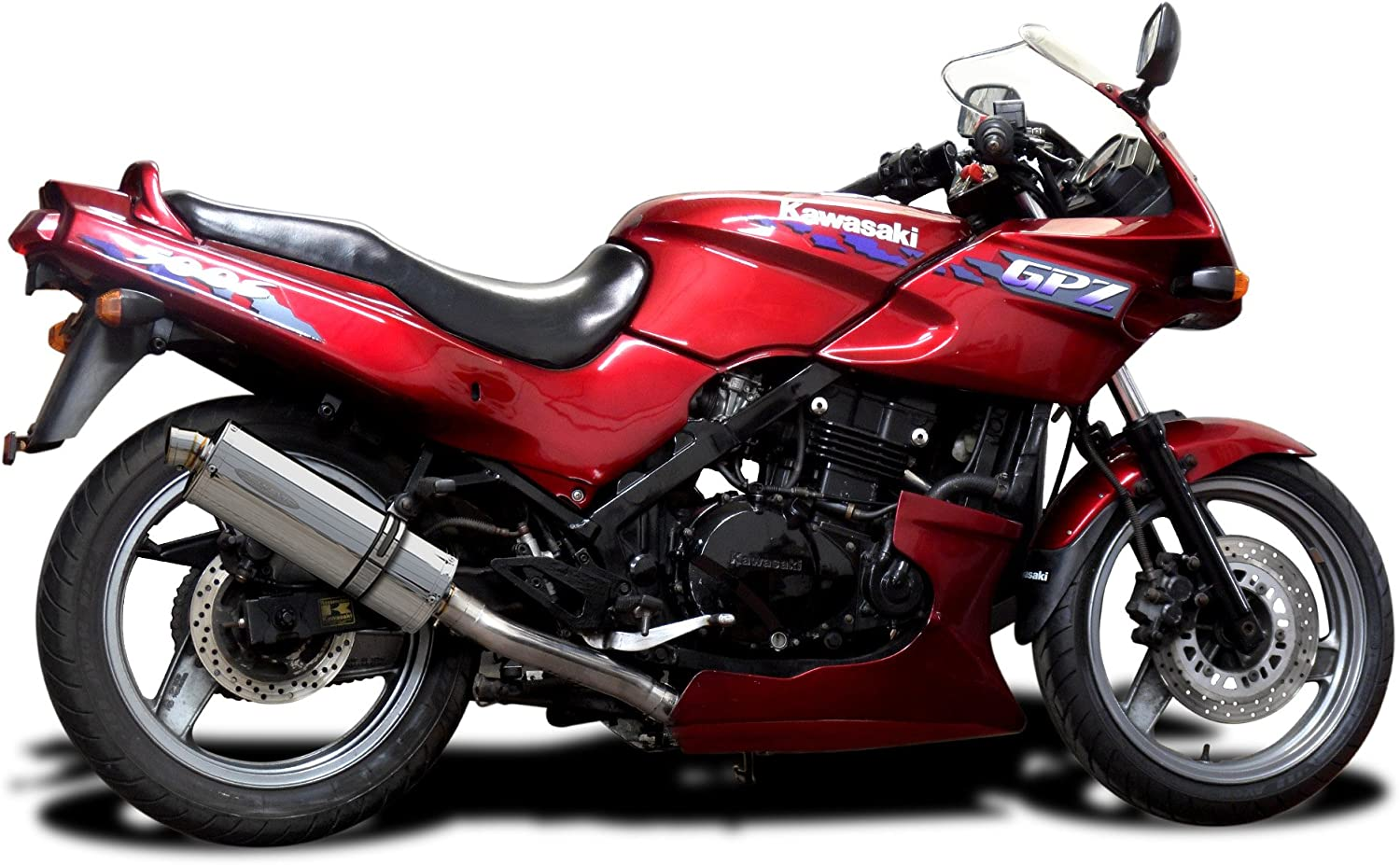 Delkevic Full 2-1 compatible with Kawasaki GPZ500S EX500 Stubby 14 Stainless Steel Oval Muffler Exhaust 87-09