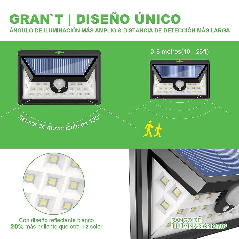 24 LED Luz Solar Exterior GRANŽT Iluminación Exterior Led de 270° Luz Solar Jardin con Sensor de Movimiento Focos Solares Jardin Led Exterior Impermeable ...