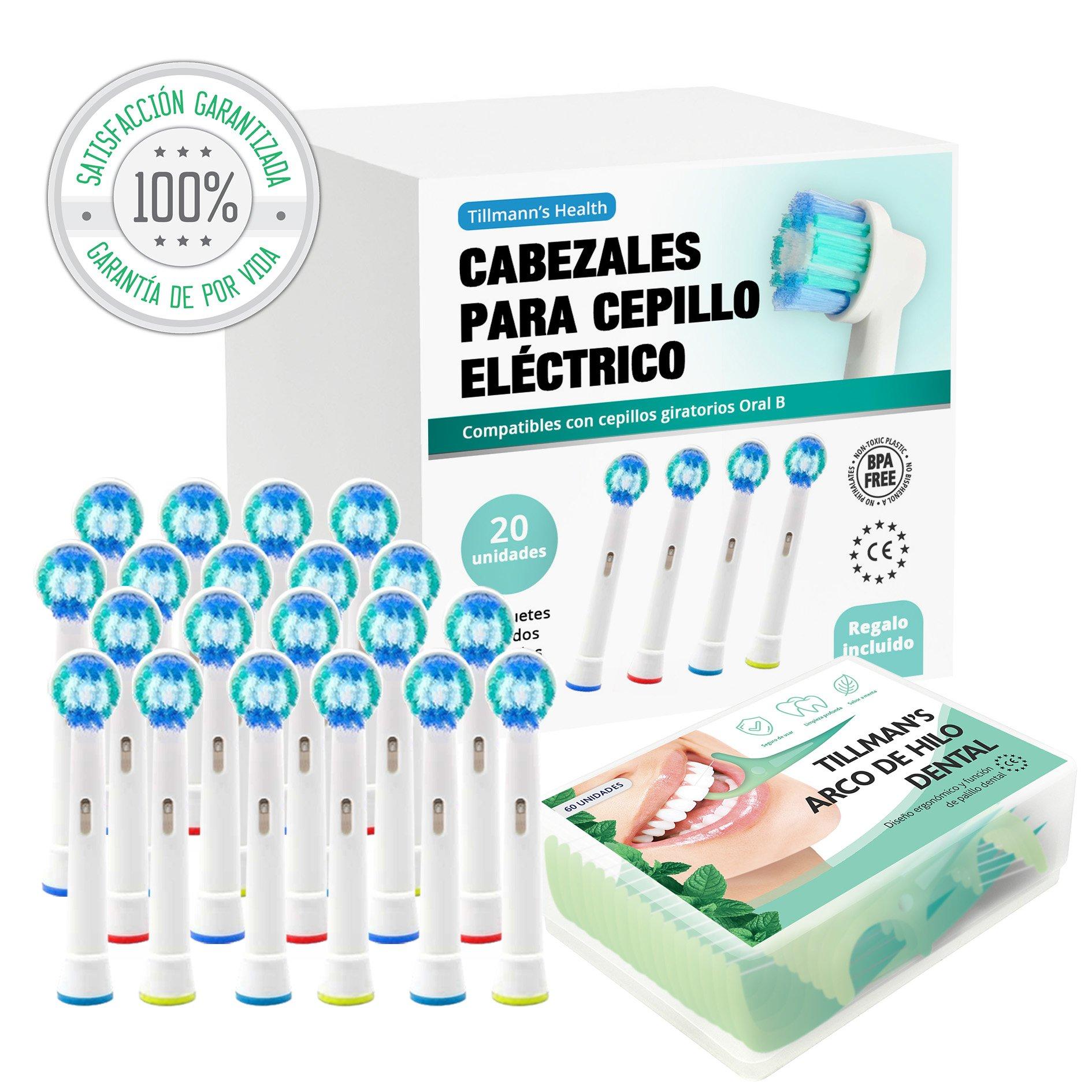 Recambios Cepillo Oral B Compatibles 20 Unidades + Arcos Hilo Dental Regalo | Cabezales Cepillos Oral