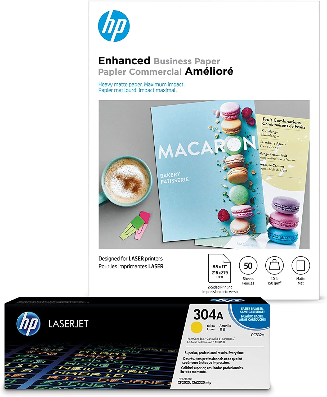 HP 304A Yellow Toner + HP Brochure Paper, Laser, 8.5x11, 50 sheets, Matte