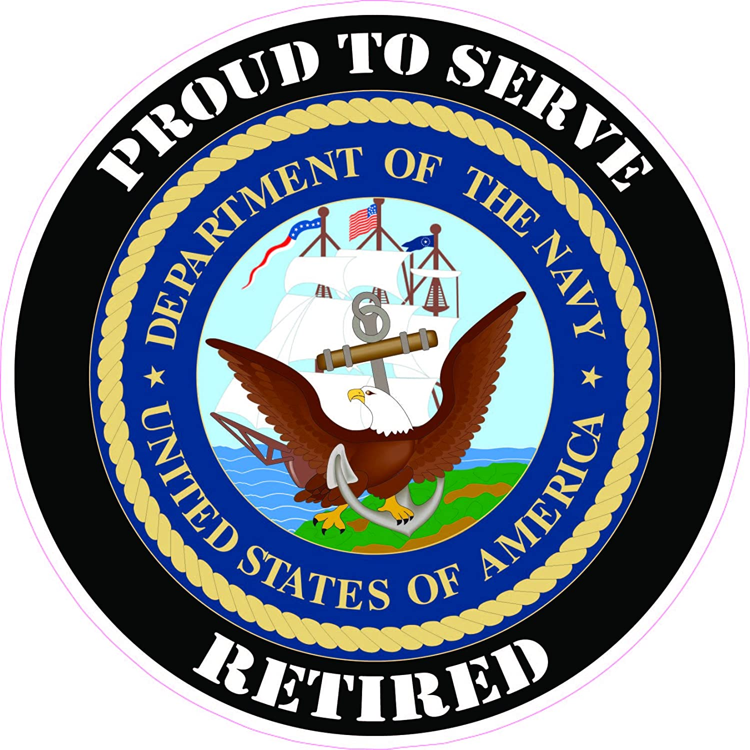 Navy Retired Circle Flag Decal Bumper Sticker