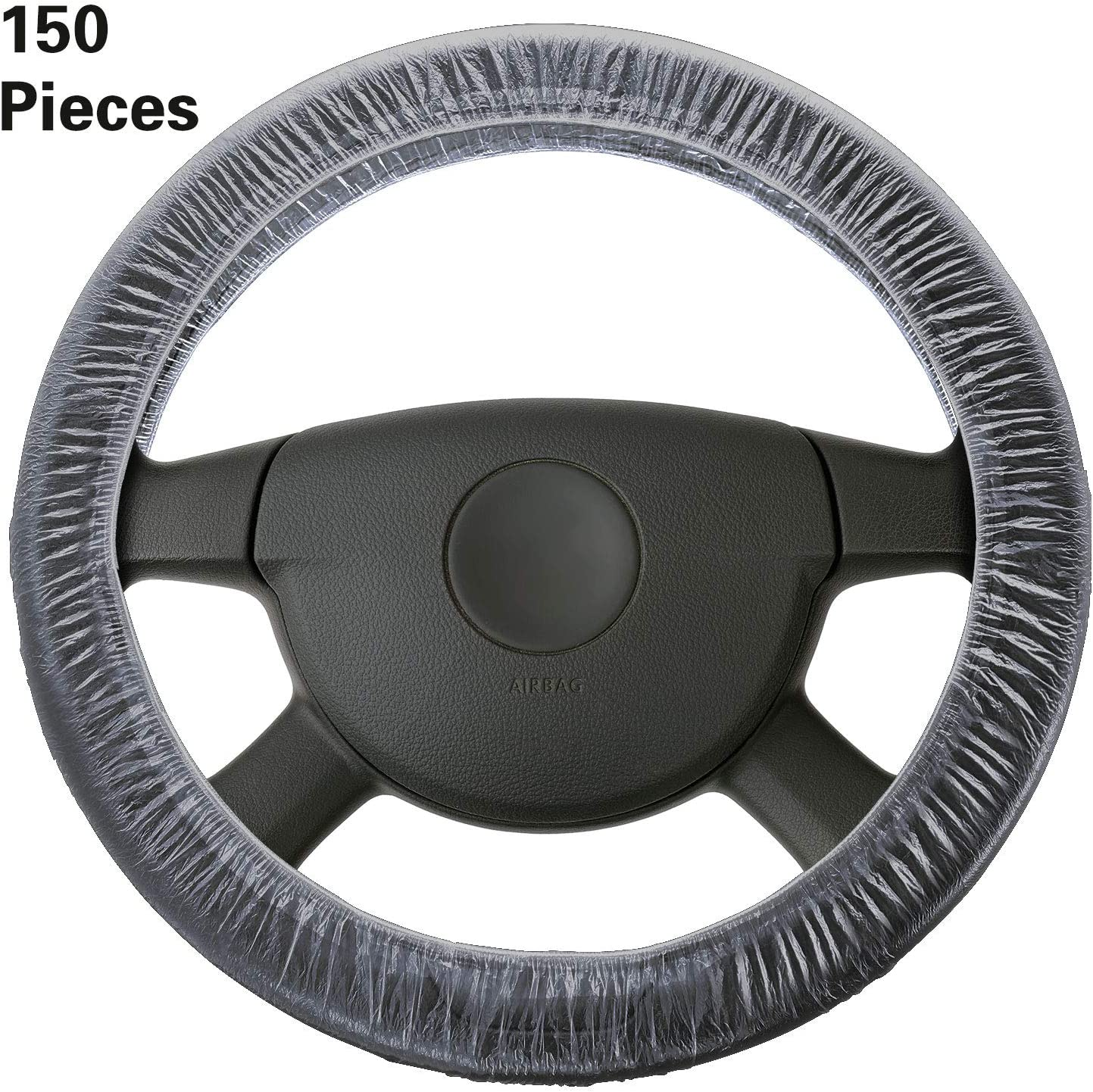 150 Pieces Universal Disposable Steering Wheel Cover Plastic Clear Car Steering Wheel Covers with Elastic Trims for Auto Car Supplies
