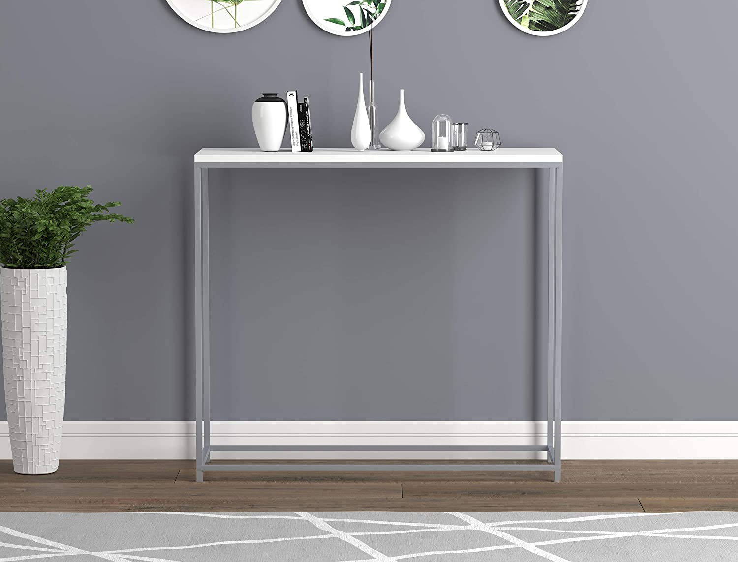 Amazing Safdie Co Entryway Couch Accent Wall White With Silver Metal Console Sofa Table Dailytribune Chair Design For Home Dailytribuneorg