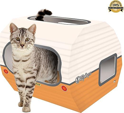 Casa de cartón para gato. La caravana para gatos es el perfecto juguete, castillo y cama