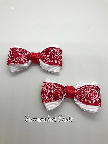 8da60d773531 Amazon.com  Handmade Girls Red And White Hair Bow Set