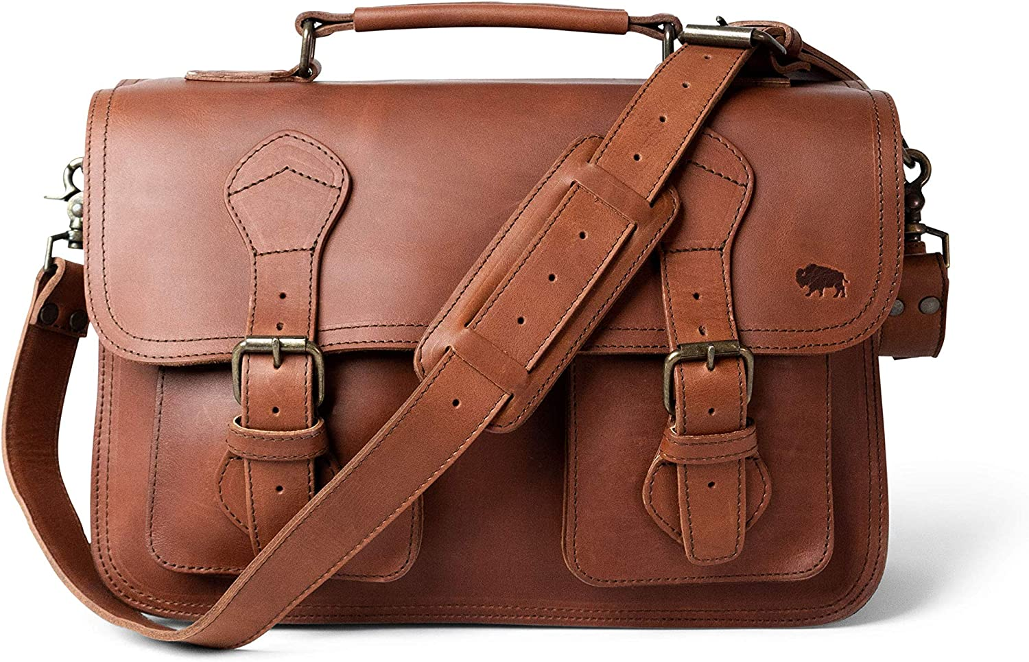 Full Grain Cow Leather Briefcase for Men Denver by Buffalo Jackson Messenger Bag Fits 13 14 15 Laptops Made in North America Autumn Brown