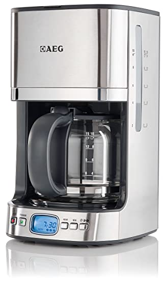 AEG KF7500 Independiente Semi-automática - Cafetera (Independiente, Cafetera de filtro, 1,25 L, 1080 W, Negro, Acero inoxidable, Transparente): Amazon.es: ...
