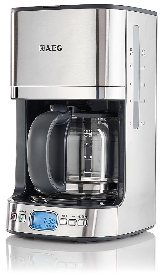AEG KF7500 Independiente Semi-automática - Cafetera (Independiente, Cafetera de filtro, 1,25 L, 1080 W, Negro, Acero inoxidable, Transparente)