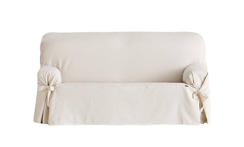 Eysa Bianca Universal 3 Seat Sofa Cover with Ribbons, Ecru F636070